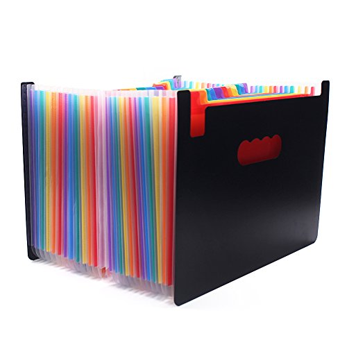 gabbrein Fächermappe Ordner, 24 Taschen Rainbow Akkordeon A4 Dokument Ordner Wallet Aktentasche 24 POCKETS (Akkordeon Aktentasche)