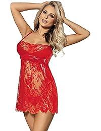 848b87fe1f8 ohyeahlady Women Sheer Lace Babydoll Mesh Chemise Sleepwear Back Lingerie  Nightwear Set (Black