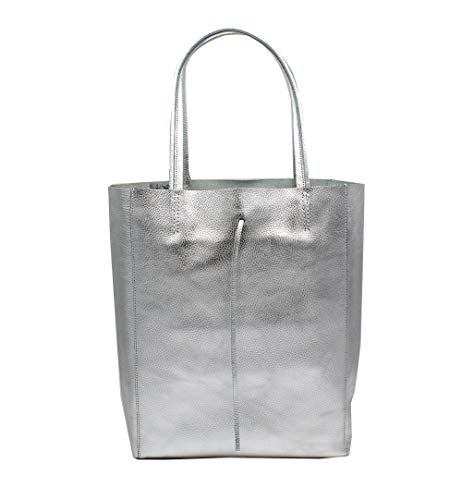 Leder Tasche Beutel (Oktradi® Damen Shopper Leder Schultertasche Handtasche Ledertasche Laptoptasche Beutel 30 x 35 x 14 cm Made in Italy (Silber))