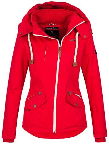 Navahoo Damen Winter Jacke Winterjacke warm gefüttert Baumwolle Teddyfell B631 [B631-Rehauge-Rot-Gr.S] (Jacke Baumwolle)