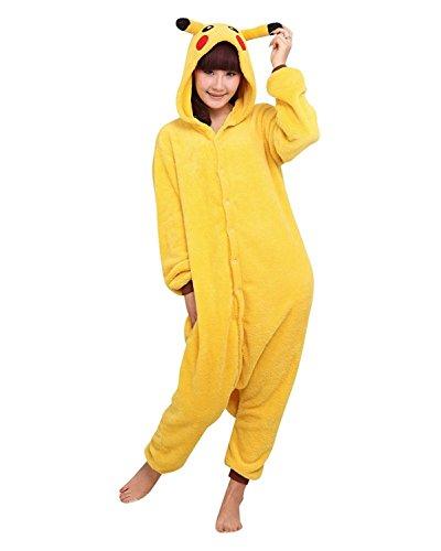 Erwachsene Fleece Tier Einteiler Neuheit Schlafanzug Nachtwäsche Kostüme Halloween Gr. Large, Pikachu (Pikachu Kostüme Erwachsene)