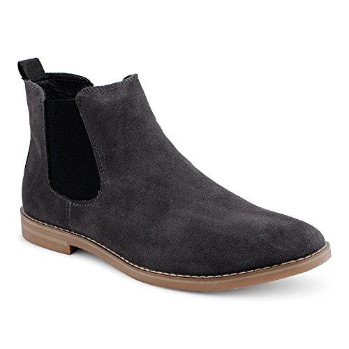 Fusskleidung Herren Chelsea Boots Velours Leder Stiefeletten Business Stiefel Schuhe Grau EU 43