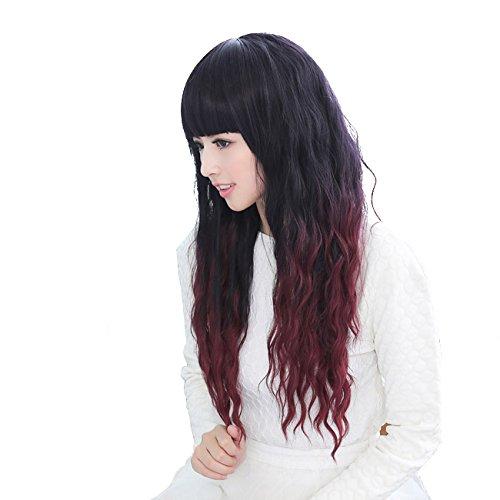 Dayiss® Femme longue frisé perruque noire et rouge vineux couleur gradient perruque coiffure gonflante avec plat frange