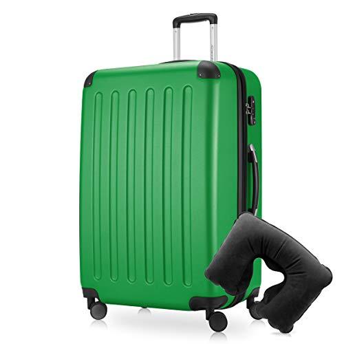 Hauptstadtkoffer - Spree Hartschalen-Koffer-XL Koffer Trolley Rollkoffer Reisekoffer Erweiterbar, 4 Rollen, TSA, 75 cm, 119 Liter, Grün inkl. Reise Nackenkissen
