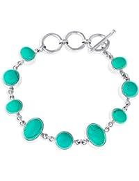 Ornami Sterling Silver Turquoise T-Bar Bracelet