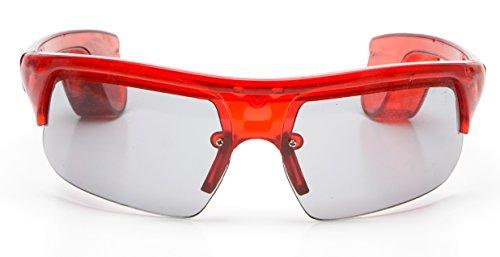 LED Leuchtbrille Party Ohne Kabel Men-Style Rot mit 9 Led Partybrille Karneval Fasching Neon Sonnenbrille (Neon Knicklicht Kostüm)