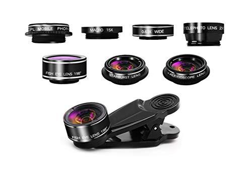 Easyinsmile 7 in 1 Handy-Kamera-Objektiv-Set Fischaugenobjektiv, Weitwinkel-Objektiv, Makroobjektiv, CPL, Kaleidoskop-Objektiv, Starburst-Objektiv - Starburst-objektiv