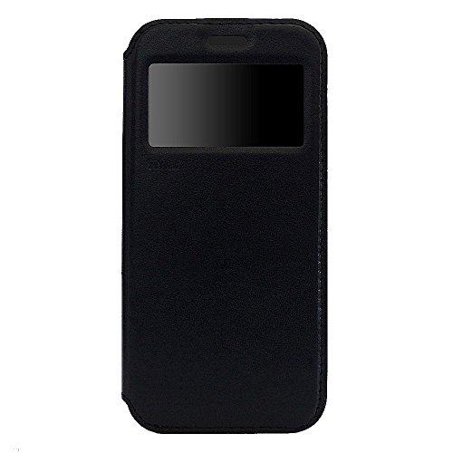 Original Roar Hülle für Samsung Galaxy S7 Edge - Luxus Handytasche Flip Case Bookstyle - Perfekter Rundum Schutz inkl. Fenster Magnet Kartenfach TPU Silikon Innen-Hülle - Schwarz