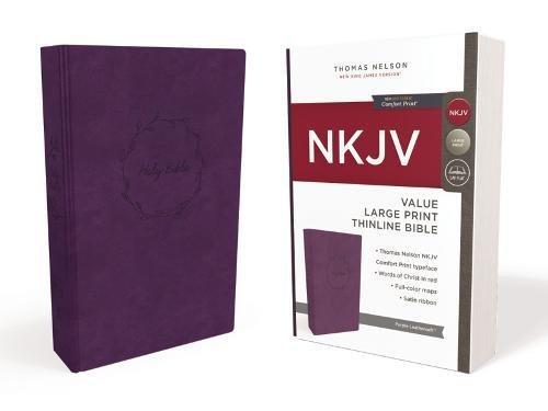 NKJV, Value Thinline Bible, Large Print, Leathersoft, Purple, Red Letter Edition, Comfort...