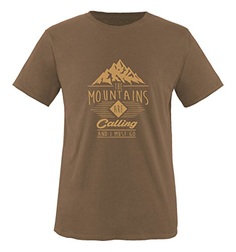 Comedy Shirts - The mountains are calling and i must go - Herren T-Shirt - Braun / Hellbraun Gr. L