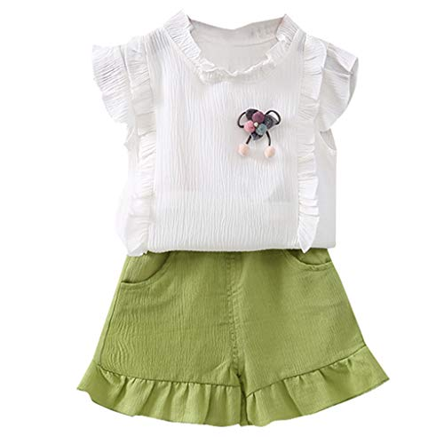 WUSIKY Baby Mädchen Outfits Sommer, Kleinkind Kinder Baby Mädchen Gekräuselt Pom T Shirt Tops + Shorts 2-TLG. Outfit Sets Lässige Mode Shirt Set Geschenk für Kinder(Weiß,80) - Pom Shorts Pom Mädchen