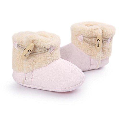 Babyschuhe Longra Baby Mädchen Schneestiefel halten warme weiche Sohle weiche Krippe Schuhe Kleinkind Stiefel (0-18 Monate) Pink
