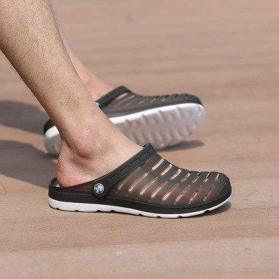 Xing Lin Sandales Pour Hommes Hommes Chaussures DÉté Sandales Pantoufles Trou Respirant La Moitié Des Femmes Couple Chaussons Grande Taille Chaussures Cool Burn Black and white