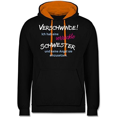 Schwester & Tante - Geschwister Geschenke verrückte Schwester - Kontrast Hoodie Schwarz/Orange