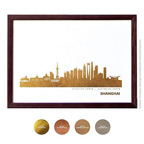Design Kunstdruck Shanghai Wandbild Poster, 4 Metallic Farben DIN A4 A3 Geschenk-Idee Jahrestag Hochzeit Erinnerung -