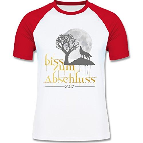 Abi & Abschluss - Biss zum Abschluss 2017 - zweifarbiges Baseballshirt für Männer Weiß/Rot