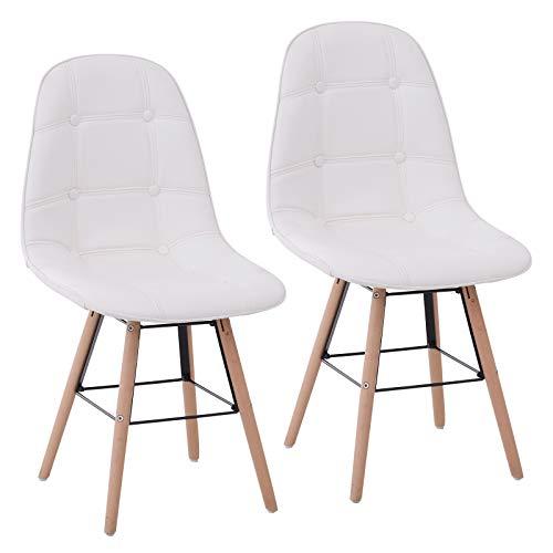 Homcom Lot de 2 chaises de Visiteur Design scandinave Pieds inclinés Bois dim. 50L x 44l x 83H cm Simili Cuir capitonné crème