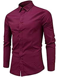BUSIM Men's Long Sleeve Shirt Fashion Slim Casual Trend Outdoor Sports Shirt T-Shirt Tops Personality Comfort...
