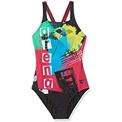 Arena G Jr Swim Pro Back One Piece Bañador Deportivo Niña Rock, Niñas, Black-Freak Rose, 12-13
