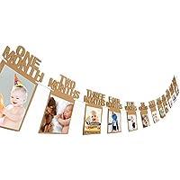 1er Anniversaire Guirlande de Banderoles Bébé Photo Bannière Bébé 1-12 Mois Photo Prop Party Bunting Décor Épaissi Kraft Carte Papier (Marron)