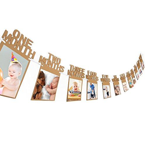 1. Geburtstag Girlande Bilderrahmen Baby Foto Banner Baby 1-12 Monate Foto Prop Party Girlande Dekor Verdickte Karte Papier (Braun)