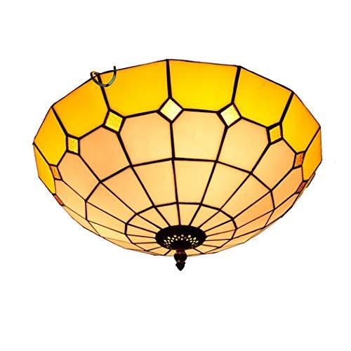 HHRONG KronleuchterKronleuchterTiffany Stil Deckenleuchte Mittelmeer Glasmalerei Anhänger Deckenleuchte, Schlafzimmer Flur Deckenleuchte 40 cm -