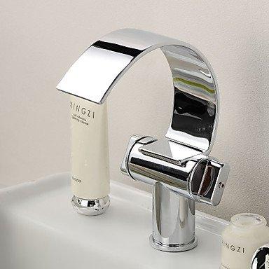 Preisvergleich Produktbild Waschbecken Wasserhahn mit Messing verchromt Wasserfall Kurve Auslauf modernen Design Waschbecken Wasserhahn