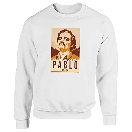Narcos Pablo Escobar Season 2 by Dune Blanca Sudadera con Capucha Unisex Medium