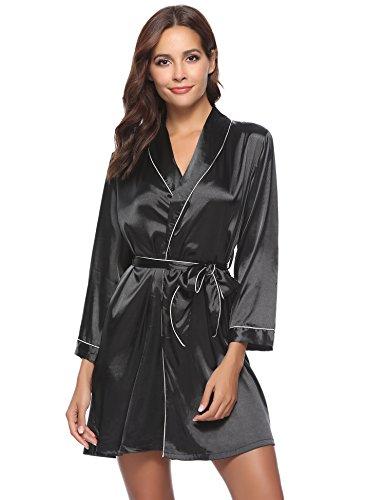 Aibrou Damen Morgenmantel Kimono Satin Kurz Robe Bademantel Nachtwäsche Sleepwear V Ausschnitt mit Gürtel Schwarz M (Robe Kimono Damen)