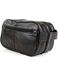 Men's Super Soft Nappa Leather Toiletries / Travel / Holiday / Over Night / Weekend Wash Bag (Black)