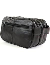 Los hombres de la Super suave napa piel de tocador/viaje/vacaciones/durante la noche/fin de semana bolsa de lavado (negro)