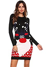 dfe66e6847268 Meaneor Robe de Noël Pull Femmes Manches Longues Santa Impression Robes de  Swing Party de Noël