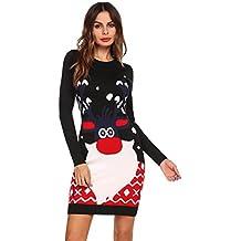 83bf52ea3fc Meaneor Robe de Noël Pull Femmes Manches Longues Santa Impression Robes de  Swing Party de Noël