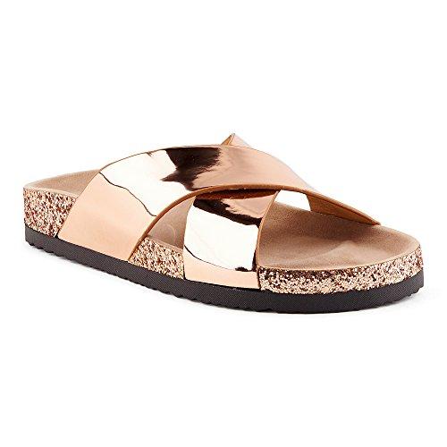 Fusskleidung Damen Pantoletten Metallic Schlappen Glitzer Komfort Sandaletten Sandalen Köln-Rose-Gold EU 39