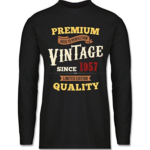 Geburtstag - 60. Geburtstag Vintage 1957 - Longsleeve / langärmeliges T-Shirt für Herren Schwarz