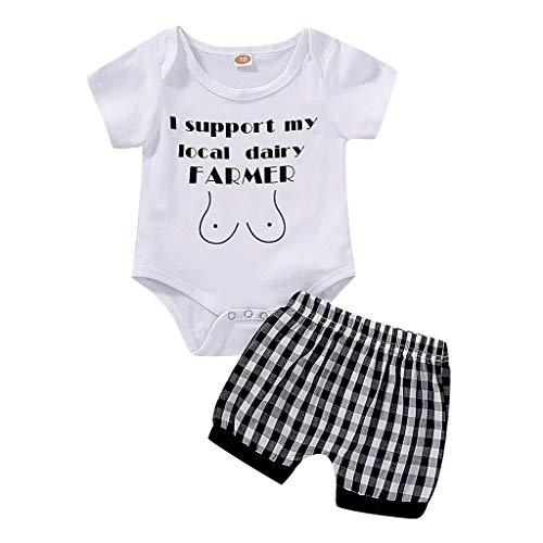 Summer Outfits for Boy Baby Mädchen Kleidung Set Pwtchenty Overall Baby Outdoor Brief Strampler Tops +Plaid Shorts Hosen 2pcs Kleidung Set