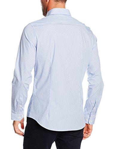 Seidensticker Herren Businesshemd Slim Langarm blau kariert mit Kent-Kragen Blau (Blau 13)