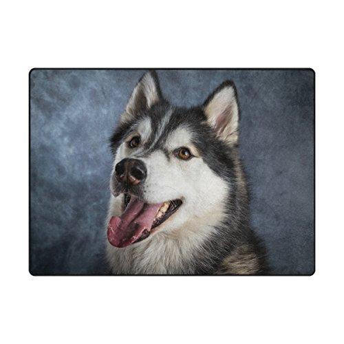 MyDaily Husky Hund und Vintage Schwarz Hintergrund Bereich Teppich 4'x 5' 7,6cm Wohnzimmer Schlafzimmer Küche dekorativ leichtem Schaumstoff Teppich, Bedruckt, Polyester, Multi, 4'10