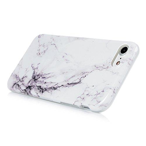 "YOKIRIN Silikonhülle für iPhone 7 (4.7"") Case Cover Premium Marmor TPU Silikon Case Cover Handytasche Etui Handycase Flexible Rutschfest Kratzfest Handyhülle Rot Weiß Lila Weiß"
