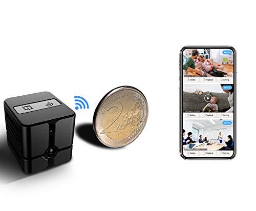 Mini Kamera,Überwachungskamera Innen WLAN Handy,Ehomful Wireless WiFi Mikro Nanny Cam mit Bewegungserkennung 1080P Tragbare Kleine Videokamera Kindermädchen-Kamera mit Nachtsicht Innen und Aussen