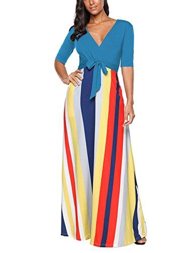SELUXU Damen Sommerkleid Mode Herbst Vintage Print Kleid High Waist Gestreiftes Langes Abend V-Ausschnitt Halbe Hülse Strand Maxikleid S-XXL (Empire-taille Kleid V-neck)
