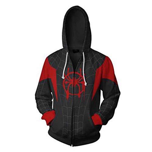Spiderman Kostüm Full - Xiaodun77 Herren Spiderman Cosplay Hoodies Neuheit Pullover Kleidung Film Tv Spider-Man Fan Kapuzenpullis Full-Zip Cosplay Kostüm,A,L