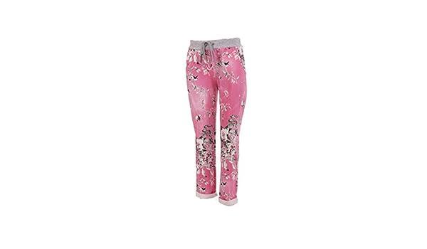07b05d4857f LavishFashionTown New Italian Ladies Floral Elastic Waist Cotton Summer  Trouser Jogger UK Size 10-16 (Cerise)  Amazon.co.uk  Clothing