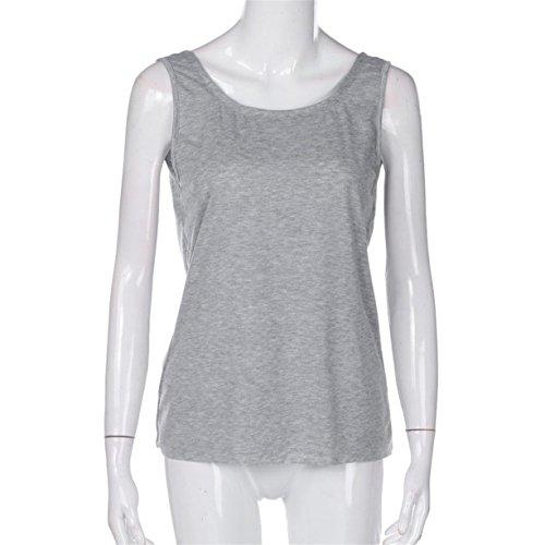 CYBERRY.M T-shirt Débardeurs Été Femme Casual Sans Manches Dos Nu Tee Chemise Blouse Gris