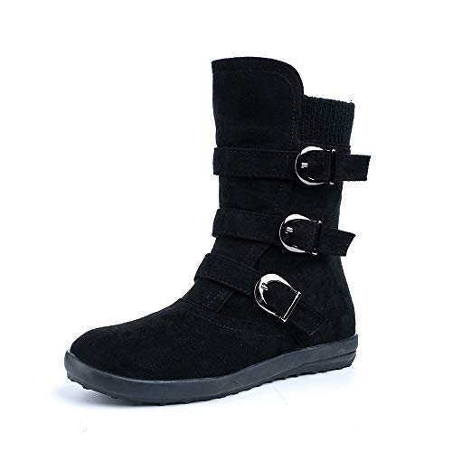 Ladies Fur Lined Boots Womens Winter Flat Mid Calf Boots Buckle Zip Slip On Suede Leather Snow Boots Warm Comfort Black Brown Grey Orange Size 3-9 UK
