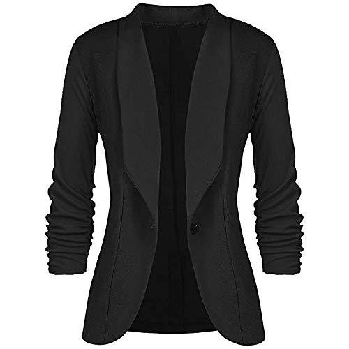 Winter Bequem Lässig Mode Frauen Art und Weisefrauen OL Art Lange Hülsen Knopf Blazer eleganter dünner Anzug Mantel(Schwarz, XL) ()