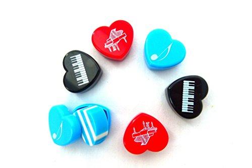 Packung mit 6 Musik Themen Herzform Radiergummi in Kunststoffgehäuse