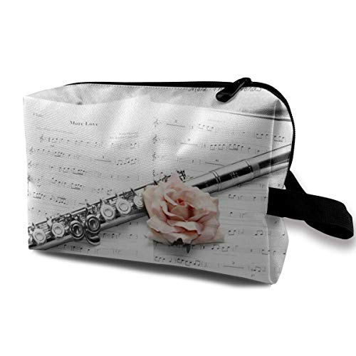 Travel Makeup Cosmetic Bag Brush Pouch Pink Rose And Flute Zipper Pen Organizer Carry Case cute makeup bags -