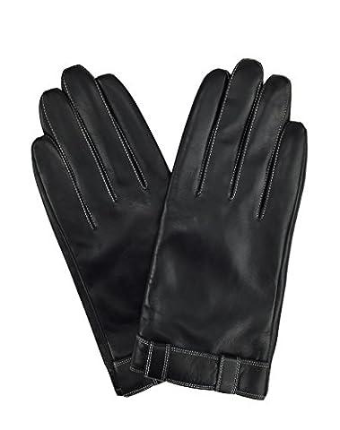 Herren Aus echtem Ziegenleder Winter Warme Gestreifte Handschuhe mit Touchscreen Technologie