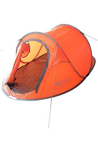 Mountain Warehouse Pop-Up Zelt 3-Personen Wurfzelt Camping Festival Erwachsener Jugendliche Orange